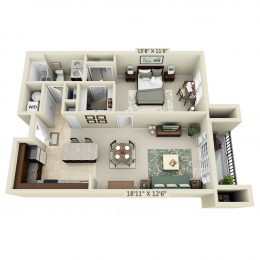 Bell Arlington Ridge A1H 1 bedroom floorplan
